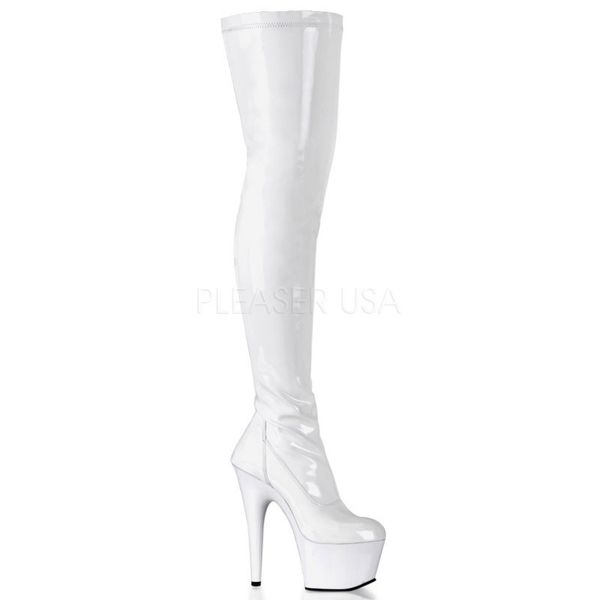 Overknee Plateau Stiefel ADORE-3000 Stretchlack weiss